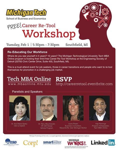 Michigan Tech Mba Program by Free Career Re Tool Workshop Feb 1 2011 School Of