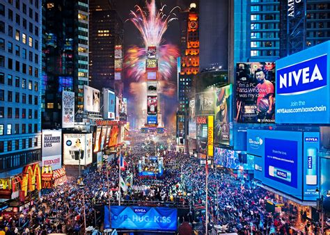 new year in city times square new york usa city cities neon lights traffic