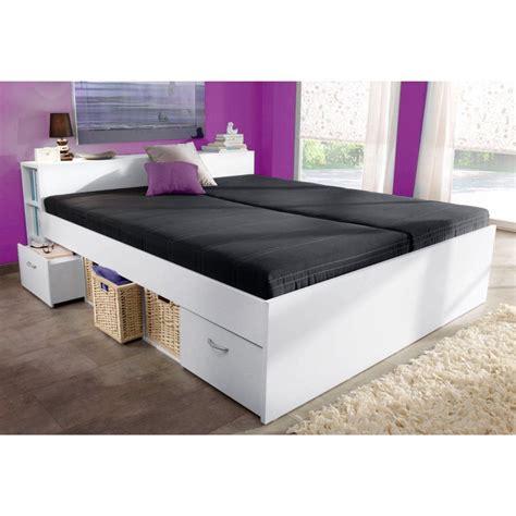 lit plate forme 1 2 personnes avec rangements blanc