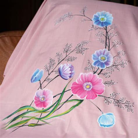 desain lukis bunga kain katun lukis wild flowers