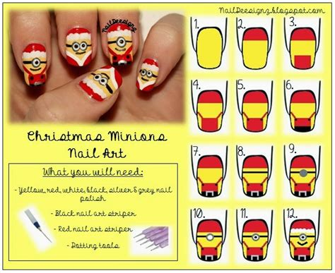 tutorial nail art minions diy christmas minion nail art usefuldiy com