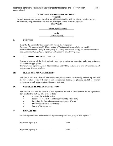 Memo Of Understanding Template by Memorandum Of Understanding Sle Gallery Cv