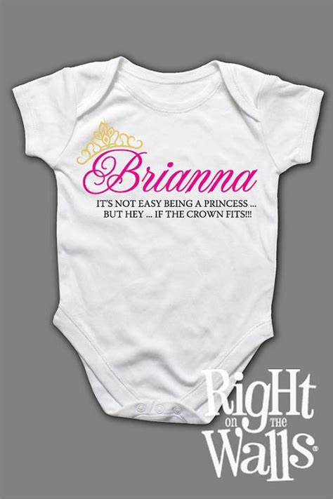 Custome Name 1 custom princess personalized custom printed baby onesie or