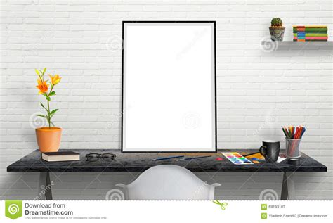 picture frames for office desk poster frame and laptop on office desk for mockup stock