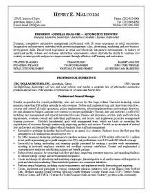 General Manager Resume Exle by Resume Sle 9 Automotive General Manager Resume Career Resumes