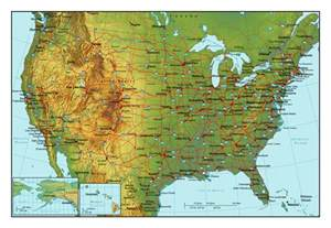 topographical map of the usa with highways and major