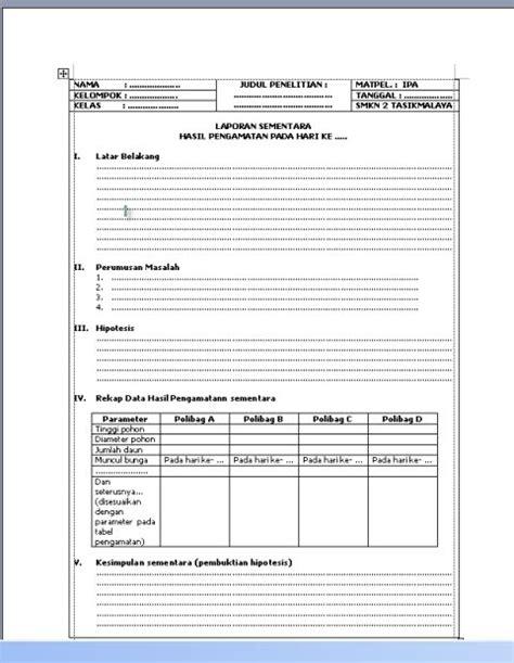 format laporan eksperimen atmosfir pendidikan tugas mata pelajaran ilmu pengetahuan