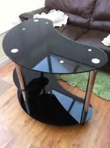 Black Glass Kidney Shaped Computer Desk Black Glass Chrome Modern Computer Desk Corner