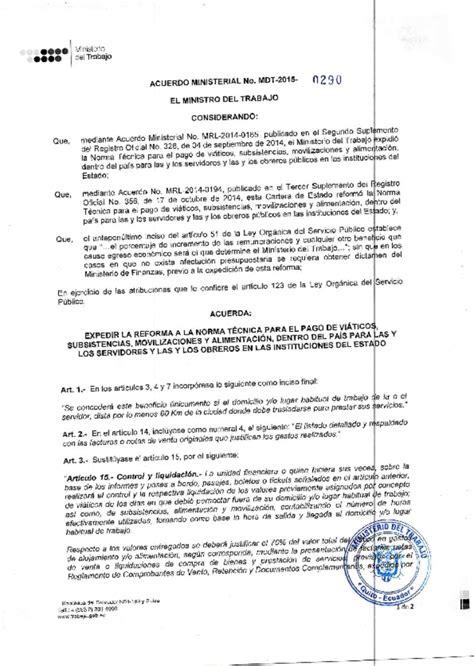 mdt acuerdo ministerial nro 0087 normas para el pago mdt acuerdo ministerial nro 0290 reforma a la norma