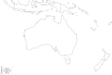 oceania outline map blank map of australia and oceania