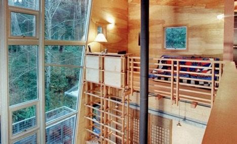 drawbridge style stairs lift up to secure treehouse retreat tree houses