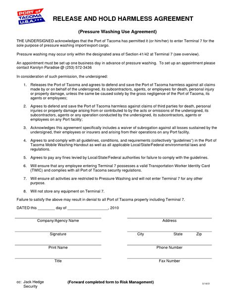 unique collection of hold harmless agreement free