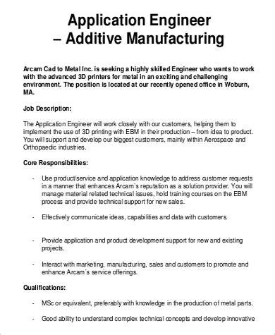 Description Application Engineer by Manufacturing Engineer Description Sle 9