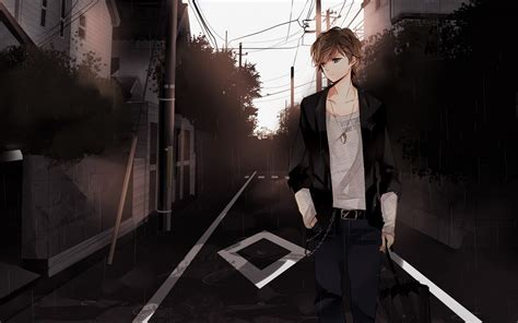 anime boy brown hair brown eyes walk street wallpaper
