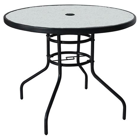 Table Ronde Patio by Uberhaus Table 224 D 238 Ner Ronde Pour Patio Verre Tremp 233