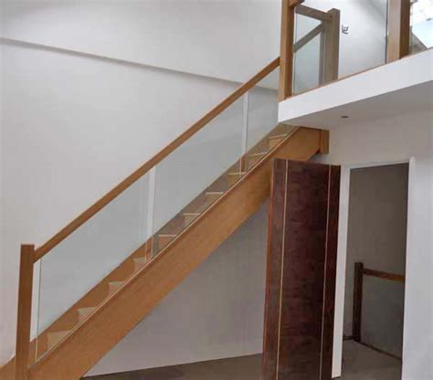 glass banister for stairs glass balustrading oak handrail with glass toughened glass