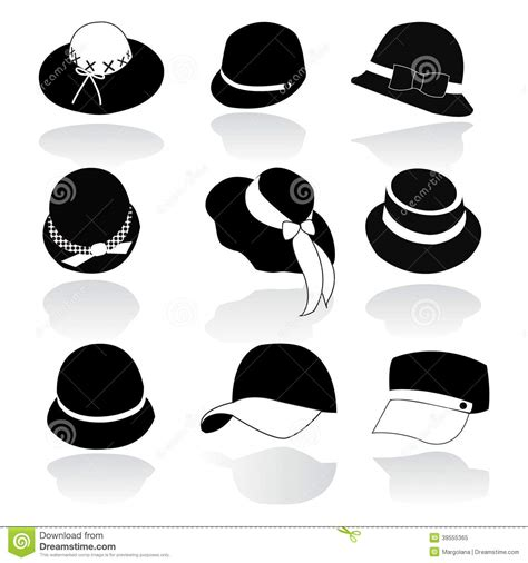 Icon Set Of Hats Black Silhouette Stock Vector   Image