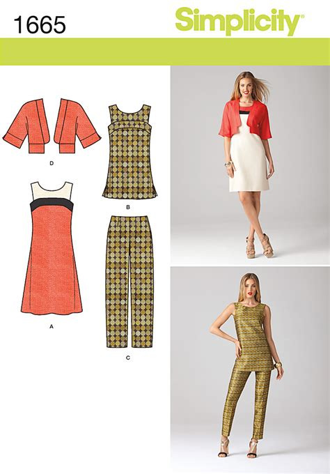 pattern review best patterns 2013 simplicity 1665 misses dress tunic jacket and pants
