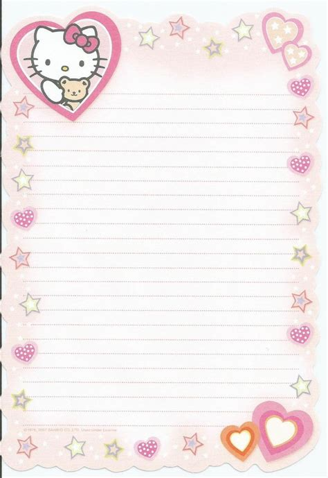 printable hello kitty notebook paper 224 best hello kitty stationery images on pinterest note