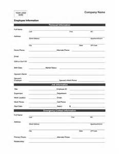 Business Information Form Template by Employee Information Form Office Templates