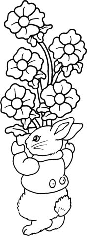 coloring pages of lots of flowers rabbit holds a lot of flowers coloring page