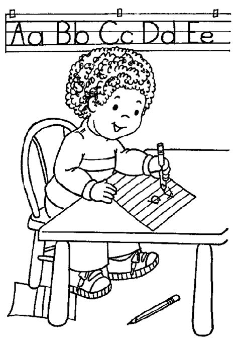 boy writing coloring page writing coloring page