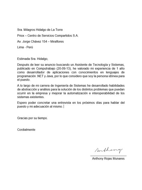 Modelo De Carta De Presentacion Curriculum Vitae Anthony Rojas Personal Carta De Presentaci 243 N Y Curriculum Vitae