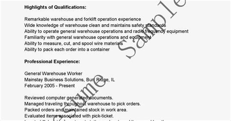 resume sles general warehouse worker resume sle