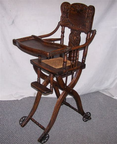 Antique Stroller High Chair by Antique Oak Folding Up And High Chair And Stroller Ebay