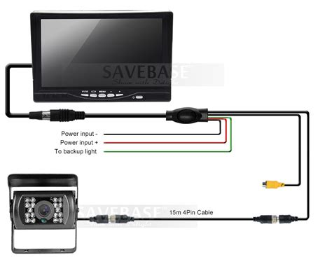 12v 24v 7 quot lcd rear view monitor backup 15m cable