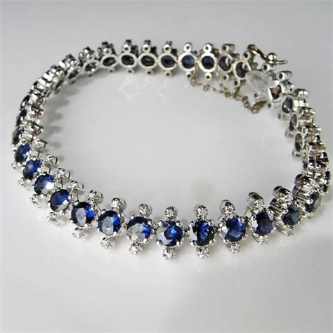 Art Deco Diamond Bracelet Ceylon Sapphire Diamond Tennis