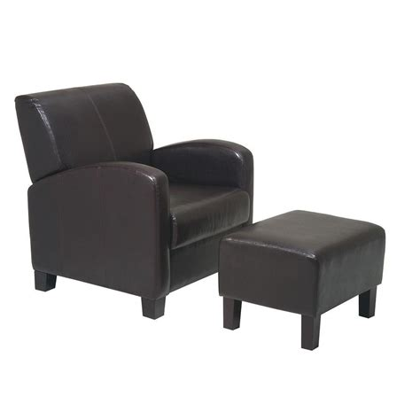 arm chair with ottoman ospdesigns espresso vinyl arm chair with ottoman met807
