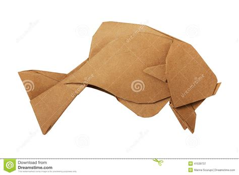 Brown Origami Paper - origami brown vintage fish stock photo image 41539737