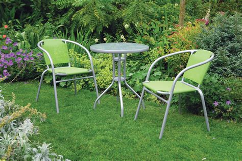Green Bistro Table And Chairs by Uk Gardens 3 Bistro Set For 2 Green And Grey