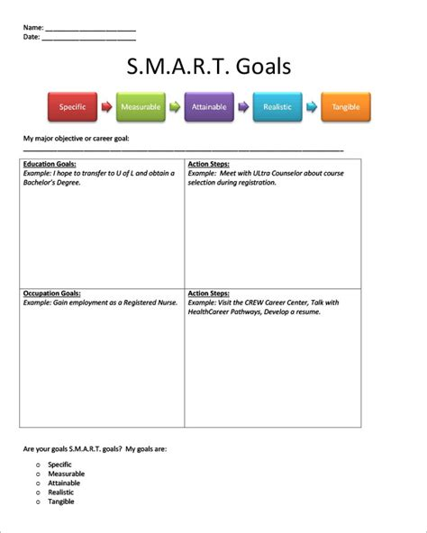 smart goal setting template 9 smart goals templates