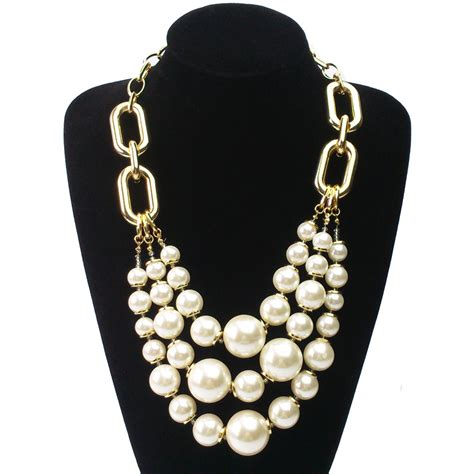 new arrival 3 layered big pearl necklace shiny statement