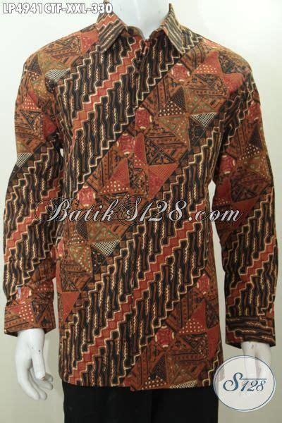 Kemeja Pria Kemeja Formal Kemeja Tenun Baron Size L 1 kemeja batik klasik motif parang halus proses cap tulis baju batik formal untuk pria gemuk