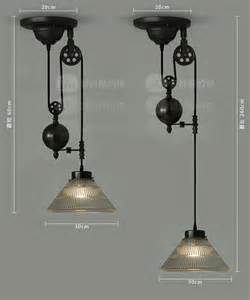 Pulley Chandelier Vintage Loft Retractable Glass Pulley Lifting Pendant