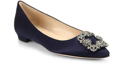 navy satin flat shoes manolo blahnik hangisi satin flats in blue navy lyst