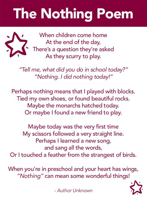 poems for from the nothing poem a poem about preschool