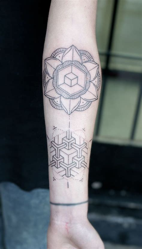 tattoo flower geometric mandala geometry forearm tattoos tattoo inspiration
