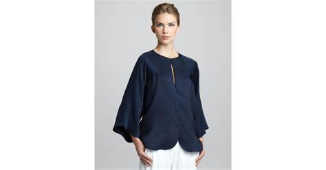 giorgio armani silk kimono top in blue lyst