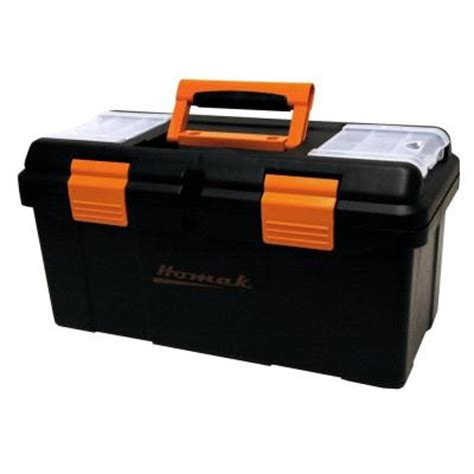 homak 20 in plastic tool box black bk00119005 the home