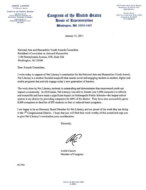 Support Letter Nomination Senator Lugar And Congressman Carson Endorse Net Literacy