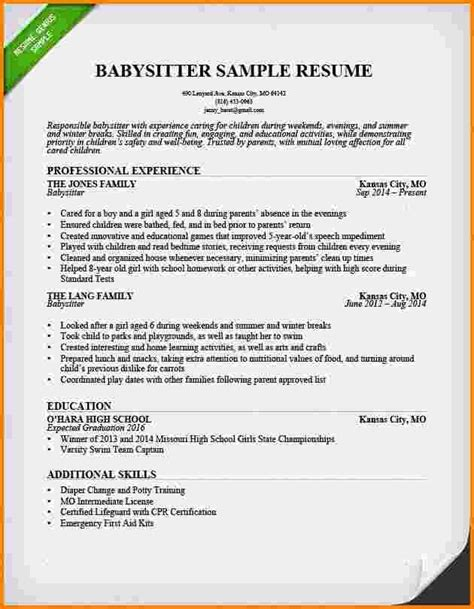 sle resume for nanny babysitting on a resume 100 images exle of a