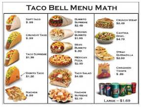 taco bell 174 menu prices updated for 2017