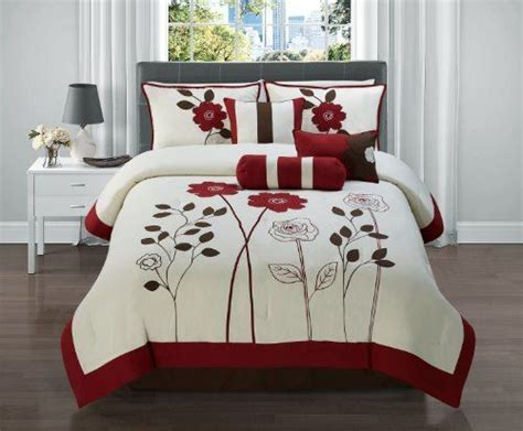 red queen size comforter 7 pc red black and tan floral comforter set bed in a