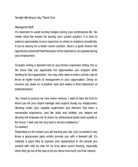 thank you letter for on farewell thank you note for when leaving style by