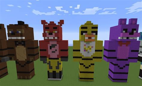 minecraft freddys nights at five five nights at freddy s statues freddy foxy chica and