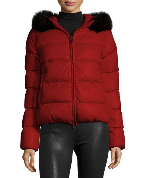 Missoni Duvet Duvetica Adhara Fur Trim Hooded Short Puffer Jacket In Red